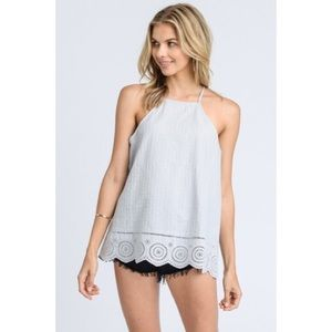 Bella Blue/Gray Lace-up Tank